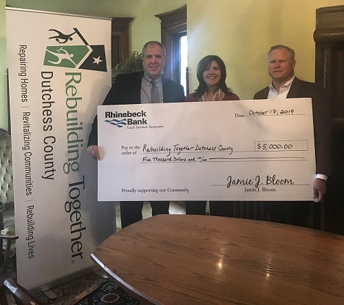 Rhinebeck Bank donates $5,000 to Rebuilding Together Dutchess County